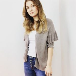 Express Gray cardigan with ruffle sleeve M